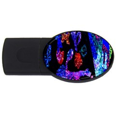 Grunge Abstract In Black Grunge Effect Layered Images Of Texture And Pattern In Pink Black Blue Red Usb Flash Drive Oval (4 Gb)