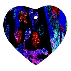 Grunge Abstract In Black Grunge Effect Layered Images Of Texture And Pattern In Pink Black Blue Red Heart Ornament (two Sides)