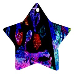 Grunge Abstract In Black Grunge Effect Layered Images Of Texture And Pattern In Pink Black Blue Red Star Ornament (Two Sides)