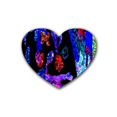 Grunge Abstract In Black Grunge Effect Layered Images Of Texture And Pattern In Pink Black Blue Red Heart Coaster (4 Pack)