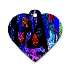 Grunge Abstract In Black Grunge Effect Layered Images Of Texture And Pattern In Pink Black Blue Red Dog Tag Heart (Two Sides)