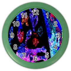 Grunge Abstract In Black Grunge Effect Layered Images Of Texture And Pattern In Pink Black Blue Red Color Wall Clocks