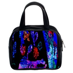 Grunge Abstract In Black Grunge Effect Layered Images Of Texture And Pattern In Pink Black Blue Red Classic Handbags (2 Sides)