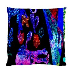 Grunge Abstract In Black Grunge Effect Layered Images Of Texture And Pattern In Pink Black Blue Red Standard Cushion Case (one Side)