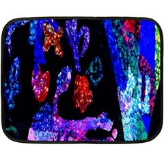 Grunge Abstract In Black Grunge Effect Layered Images Of Texture And Pattern In Pink Black Blue Red Fleece Blanket (Mini)