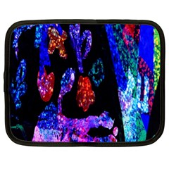 Grunge Abstract In Black Grunge Effect Layered Images Of Texture And Pattern In Pink Black Blue Red Netbook Case (XL)