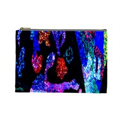 Grunge Abstract In Black Grunge Effect Layered Images Of Texture And Pattern In Pink Black Blue Red Cosmetic Bag (Large)