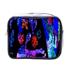 Grunge Abstract In Black Grunge Effect Layered Images Of Texture And Pattern In Pink Black Blue Red Mini Toiletries Bags