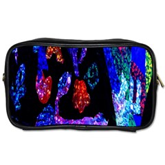 Grunge Abstract In Black Grunge Effect Layered Images Of Texture And Pattern In Pink Black Blue Red Toiletries Bags 2-Side