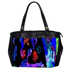Grunge Abstract In Black Grunge Effect Layered Images Of Texture And Pattern In Pink Black Blue Red Office Handbags (2 Sides)