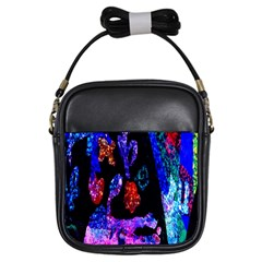Grunge Abstract In Black Grunge Effect Layered Images Of Texture And Pattern In Pink Black Blue Red Girls Sling Bags