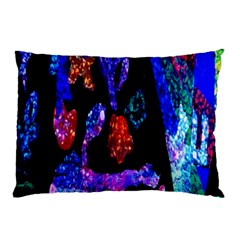 Grunge Abstract In Black Grunge Effect Layered Images Of Texture And Pattern In Pink Black Blue Red Pillow Case (Two Sides)