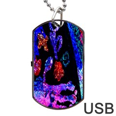 Grunge Abstract In Black Grunge Effect Layered Images Of Texture And Pattern In Pink Black Blue Red Dog Tag USB Flash (One Side)