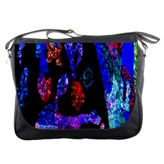 Grunge Abstract In Black Grunge Effect Layered Images Of Texture And Pattern In Pink Black Blue Red Messenger Bags