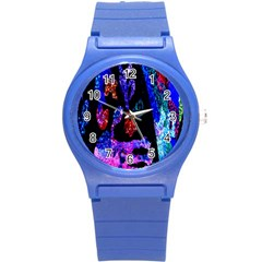 Grunge Abstract In Black Grunge Effect Layered Images Of Texture And Pattern In Pink Black Blue Red Round Plastic Sport Watch (s)