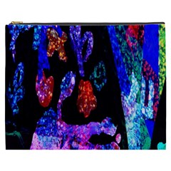 Grunge Abstract In Black Grunge Effect Layered Images Of Texture And Pattern In Pink Black Blue Red Cosmetic Bag (XXXL)