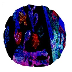 Grunge Abstract In Black Grunge Effect Layered Images Of Texture And Pattern In Pink Black Blue Red Large 18  Premium Round Cushions