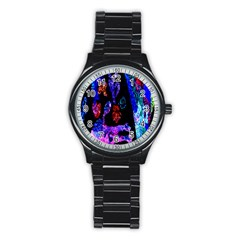 Grunge Abstract In Black Grunge Effect Layered Images Of Texture And Pattern In Pink Black Blue Red Stainless Steel Round Watch