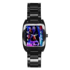 Grunge Abstract In Black Grunge Effect Layered Images Of Texture And Pattern In Pink Black Blue Red Stainless Steel Barrel Watch