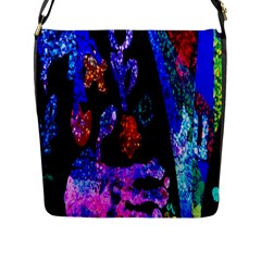 Grunge Abstract In Black Grunge Effect Layered Images Of Texture And Pattern In Pink Black Blue Red Flap Messenger Bag (l)
