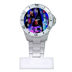 Grunge Abstract In Black Grunge Effect Layered Images Of Texture And Pattern In Pink Black Blue Red Plastic Nurses Watch