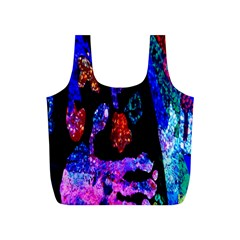 Grunge Abstract In Black Grunge Effect Layered Images Of Texture And Pattern In Pink Black Blue Red Full Print Recycle Bags (s)