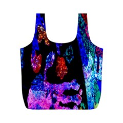 Grunge Abstract In Black Grunge Effect Layered Images Of Texture And Pattern In Pink Black Blue Red Full Print Recycle Bags (m)