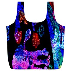 Grunge Abstract In Black Grunge Effect Layered Images Of Texture And Pattern In Pink Black Blue Red Full Print Recycle Bags (L)