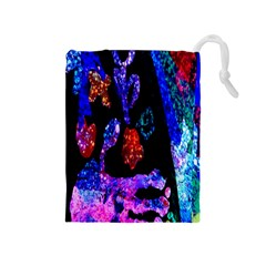 Grunge Abstract In Black Grunge Effect Layered Images Of Texture And Pattern In Pink Black Blue Red Drawstring Pouches (Medium)