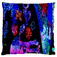Grunge Abstract In Black Grunge Effect Layered Images Of Texture And Pattern In Pink Black Blue Red Large Flano Cushion Case (Two Sides)