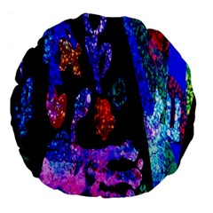 Grunge Abstract In Black Grunge Effect Layered Images Of Texture And Pattern In Pink Black Blue Red Large 18  Premium Flano Round Cushions