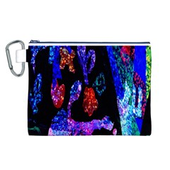 Grunge Abstract In Black Grunge Effect Layered Images Of Texture And Pattern In Pink Black Blue Red Canvas Cosmetic Bag (L)