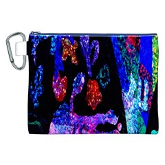 Grunge Abstract In Black Grunge Effect Layered Images Of Texture And Pattern In Pink Black Blue Red Canvas Cosmetic Bag (XXL)