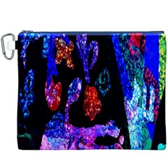 Grunge Abstract In Black Grunge Effect Layered Images Of Texture And Pattern In Pink Black Blue Red Canvas Cosmetic Bag (xxxl)