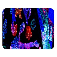 Grunge Abstract In Black Grunge Effect Layered Images Of Texture And Pattern In Pink Black Blue Red Double Sided Flano Blanket (large)
