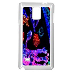 Grunge Abstract In Black Grunge Effect Layered Images Of Texture And Pattern In Pink Black Blue Red Samsung Galaxy Note 4 Case (White)