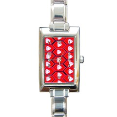 Red Bee Hive Background Rectangle Italian Charm Watch