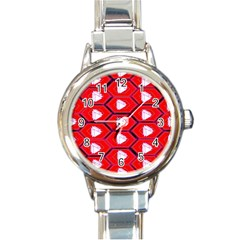 Red Bee Hive Background Round Italian Charm Watch