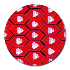Red Bee Hive Background Round Mousepads