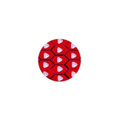 Red Bee Hive Background 1  Mini Buttons