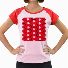 Red Bee Hive Background Women s Cap Sleeve T Shirt