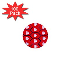 Red Bee Hive Background 1  Mini Buttons (100 Pack)