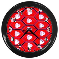 Red Bee Hive Background Wall Clocks (black)