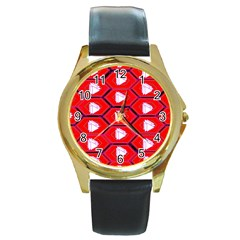 Red Bee Hive Background Round Gold Metal Watch