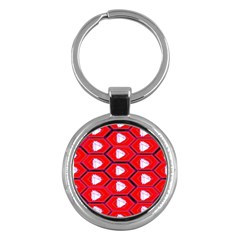 Red Bee Hive Background Key Chains (Round)