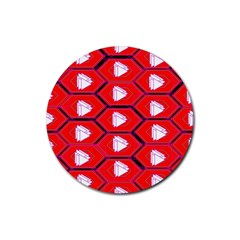 Red Bee Hive Background Rubber Round Coaster (4 pack)