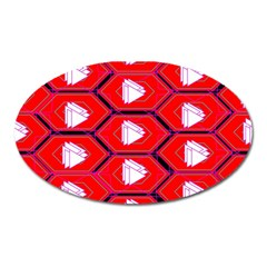 Red Bee Hive Background Oval Magnet