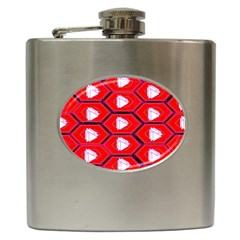 Red Bee Hive Background Hip Flask (6 oz)