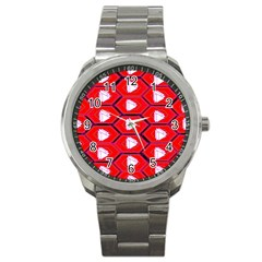 Red Bee Hive Background Sport Metal Watch