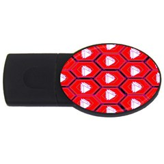 Red Bee Hive Background USB Flash Drive Oval (4 GB)